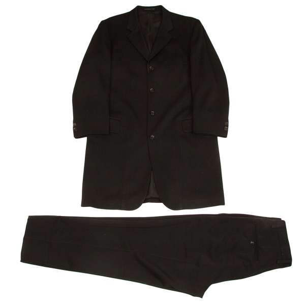 ヨウジヤマモト コスチュームドオムYohji Yamamoto COSTUME D' HOMME ウールドスキンロングセットアップスーツ 黒S【中古】 【メンズ】