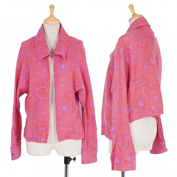 リミフゥLIMI feu ウールサイケプリントボタンレスジャケット ピンク淡紫S【中古】 【レディース】
