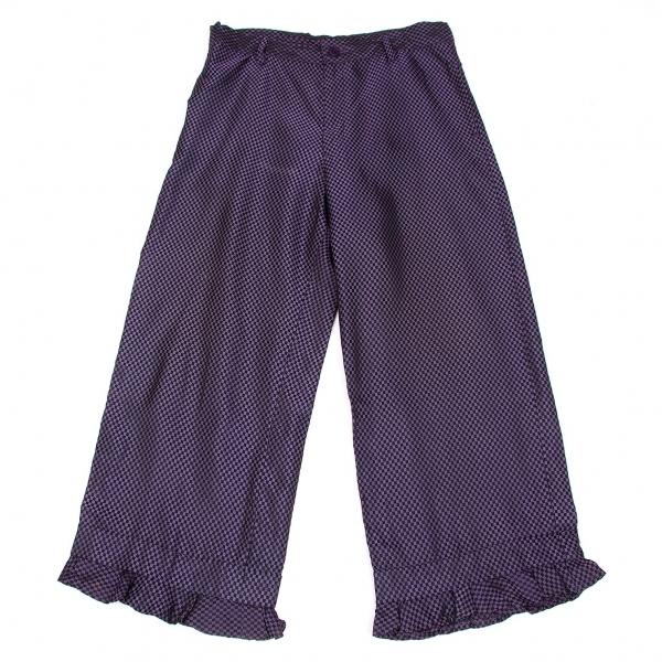 リミフゥLIMI feu キュプラチェッカー裾フリルワイドパンツ 紫黒S【中古】