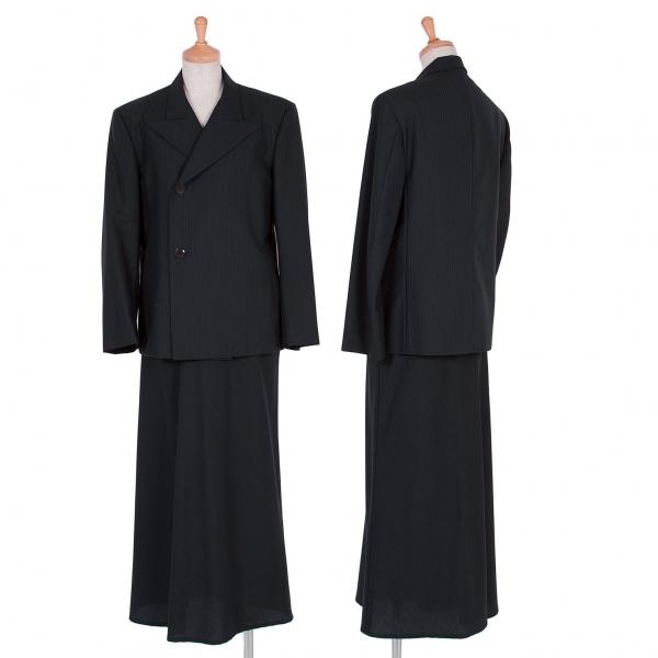 ヨウジヤマモト ノアールYohji Yamamoto NOIR ストライプピークドラペルセットアップスーツ 紺1・2【中古】