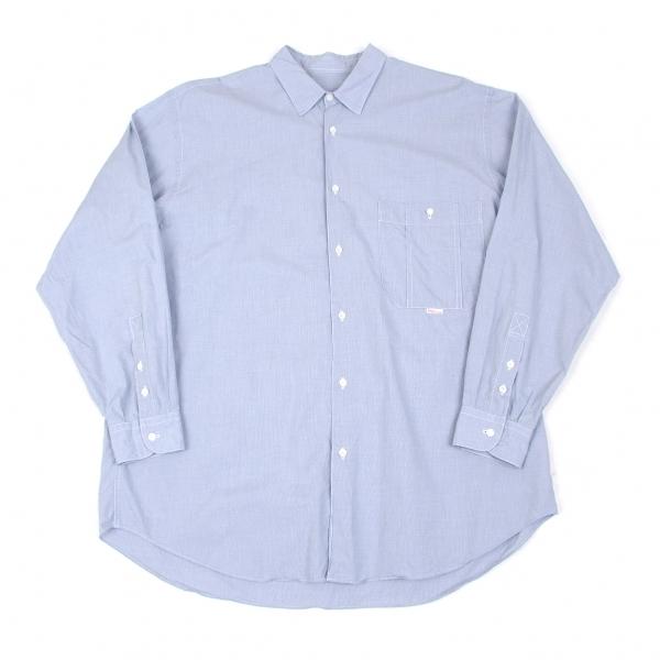 パパスPapas ステッチコットンシャツ 水色L【中古】 【メンズ】