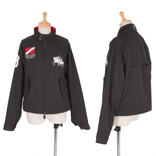 【SALE】ラルフローレンRALPH LAUREN ポロ刺繍中綿シングルライダースジャケット 黒赤白M位【中古】 【レディース】
