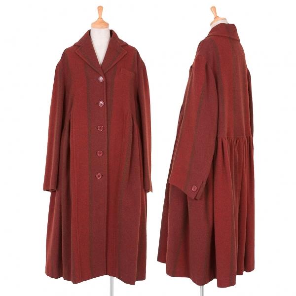 ロメオジリROMEO GIGLI ストライプウールギャザー切替コート 赤茶9AT【中古】