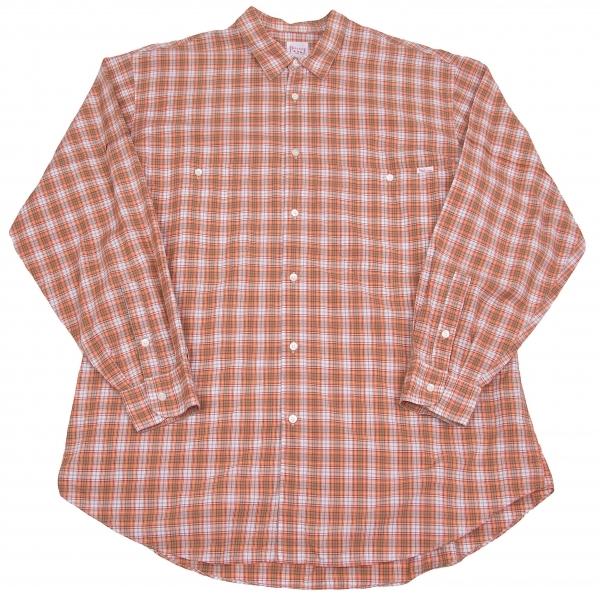 パパスPapas コットンチェックシャツ オレンジカーキ白L【中古】