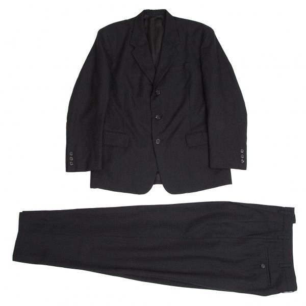 ワイズフォーメンY's for men ウールストライプ織りセットアップスーツ 黒S【中古】 【メンズ】