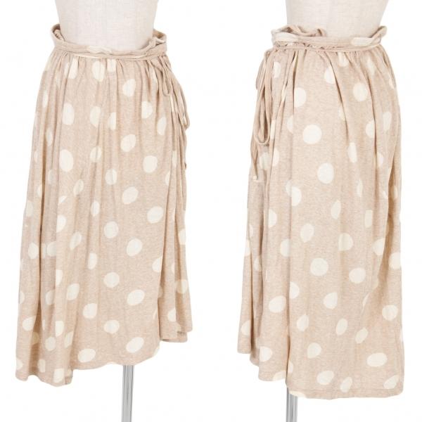 【SALE】ワイズY's コットンドット柄ギャザーラップスカート 杢ベージュ生成り2【中古】 【レディース】