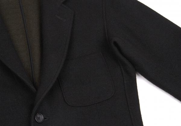 ヨウジヤマモト コスチュームドオムYohji Yamamoto COSTUME D' HOMME 動体裁断動体縫製ニットパッチポケットジャケット 黒カーキ2メンズWxerCdBo