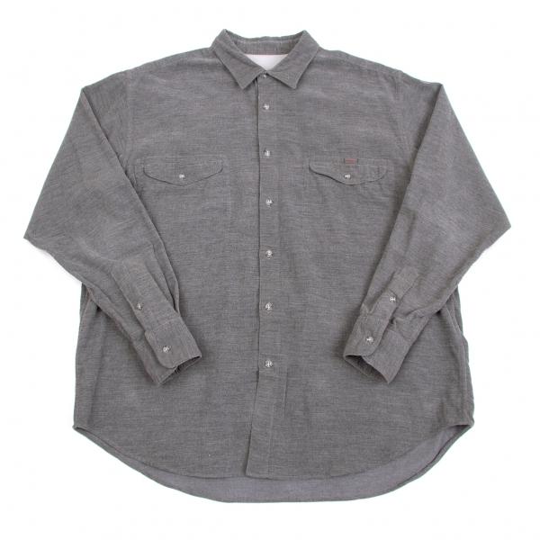 パパスPapas コットンコーデュロイシャツ 杢グレーL【中古】 【メンズ】