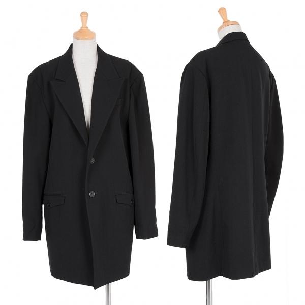 ワイズY's ウールピークドラペルロングジャケット 黒M位【中古】