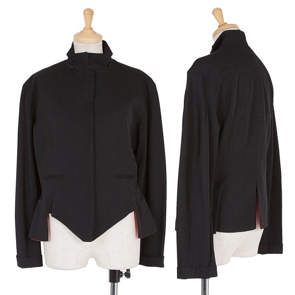 ヨウジヤマモト ファムYohji Yamamoto FEMME ウールギャバスナップボタンジャケット 黒赤S【中古】