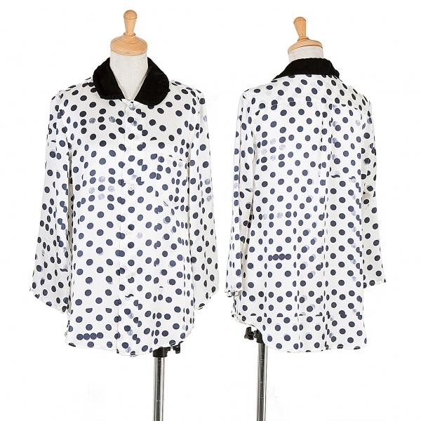 コムコム コムデギャルソンCOMME des GARCONS かすれドットプリントベロアラウンドカラーシャツ 白紺黒M【中古】