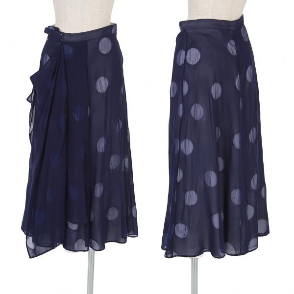 ヨウジヤマモト ノアールYohji Yamamoto NOIR シルクレイヤードドットスカート 紺白1【中古】