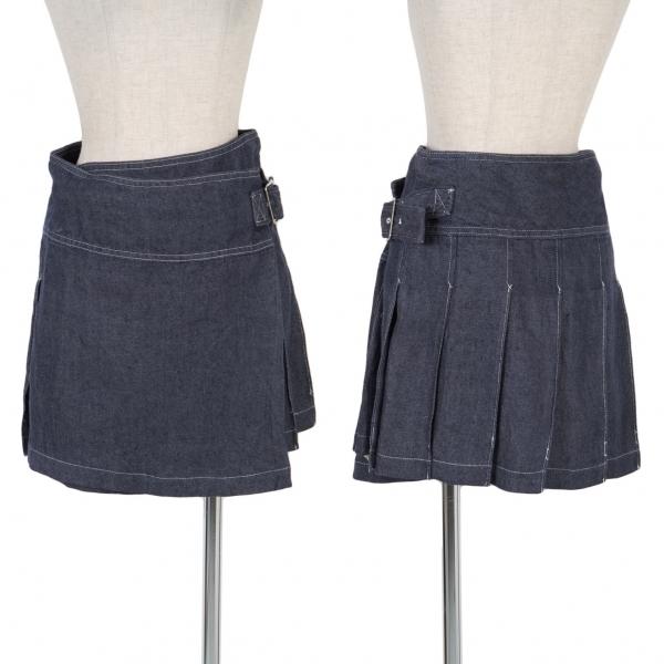 トリコ コムデギャルソンtricot COMME des GARCONS リネンデニムプリーツ巻きスカート インディゴM【中古】