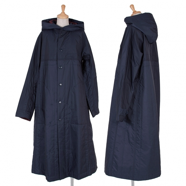 プリーツプリーズPLEATS PLEASE 超音波カット中綿フーデッドコート 紺エンジ4【中古】