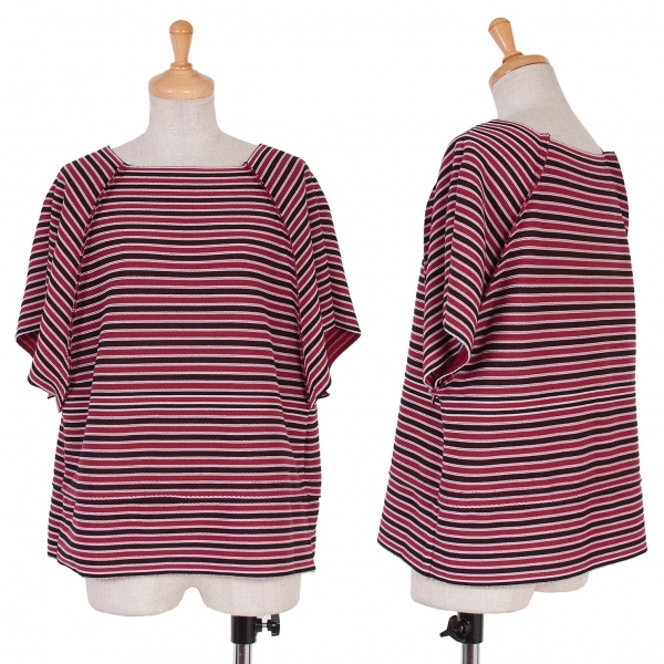 【SALE】イッセイミヤケISSEY MIYAKE A.POC INSIDE ボーダーラグラン切替Tシャツ 赤黒白2【中古】 【レディース】
