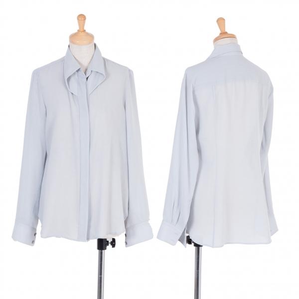 イッセイミヤケISSEY MIYAKE ポリウール変形カラーシャツ 淡ブルーグレー2【中古】 【レディース】