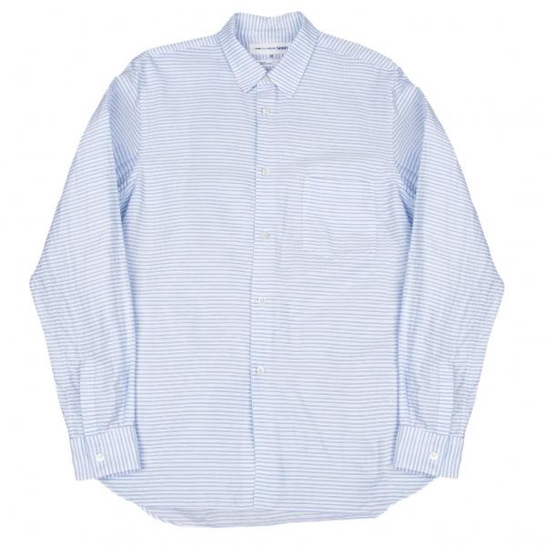 コムデギャルソンシャツCOMME des GARCONS SHIRT コットンボーダーシャツ 白ブルーM【中古】