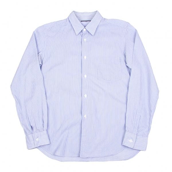 コムデギャルソン オムCOMME des GARCONS HOMME 斜め織りストライプシャツ ブルー白グレーM位【中古】