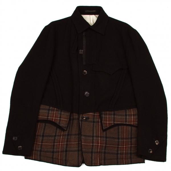 ワイズフォーメンY's for men チェック切替ウールデザインジャケット 黒茶エンジ他3【中古】 【メンズ】