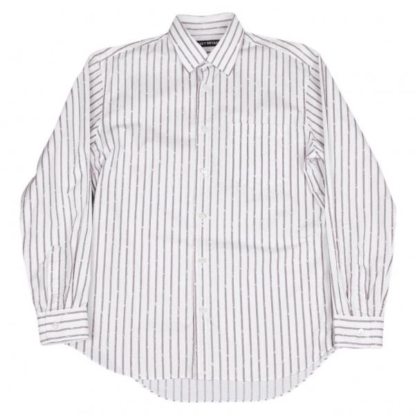 イッセイミヤケ メンISSEY MIYAKE MEN かすれストライプシャツ 白グレー3【中古】