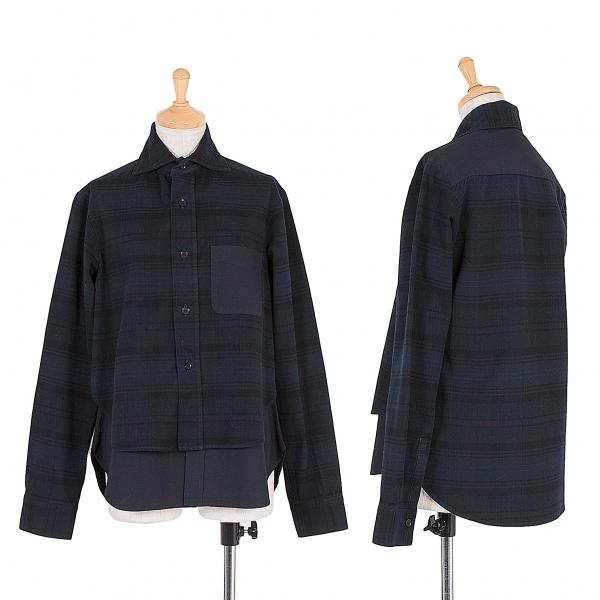 ワイズY's 製品染め生地切替レイヤードデザインシャツ 紺黒L【中古】