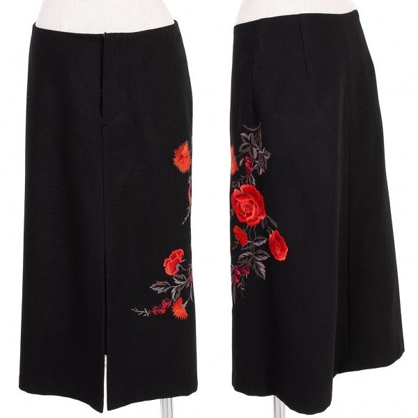 ヴィヴィアンタムVIVIENNETAM フラワー刺繍ウールスカート 黒赤グレー他1【中古】