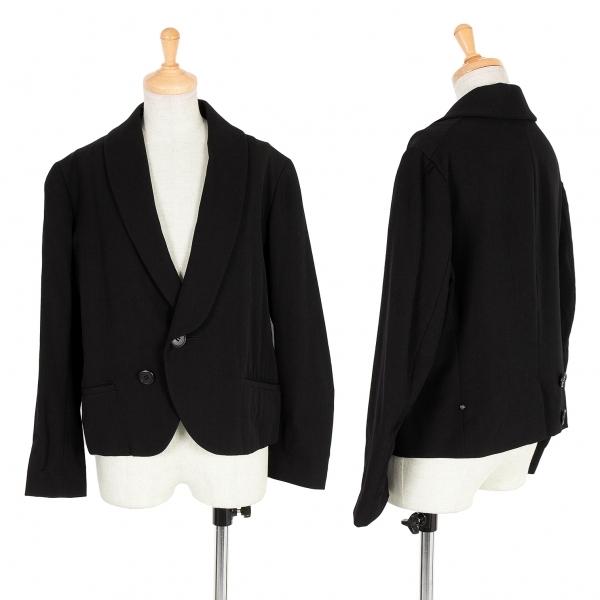 【SALE】ワイズY's ウールギャバボタンデザインサークルカラーショートジャケット 黒2【中古】 【レディース】