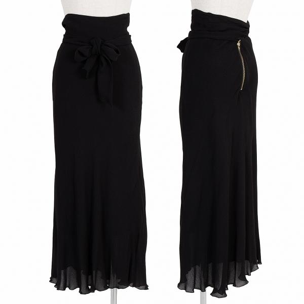 ジャンポールゴルチエ ファムJean Paul GAULTIER FEMME リボンデザインレーヨンフレアスカート 黒40【中古】