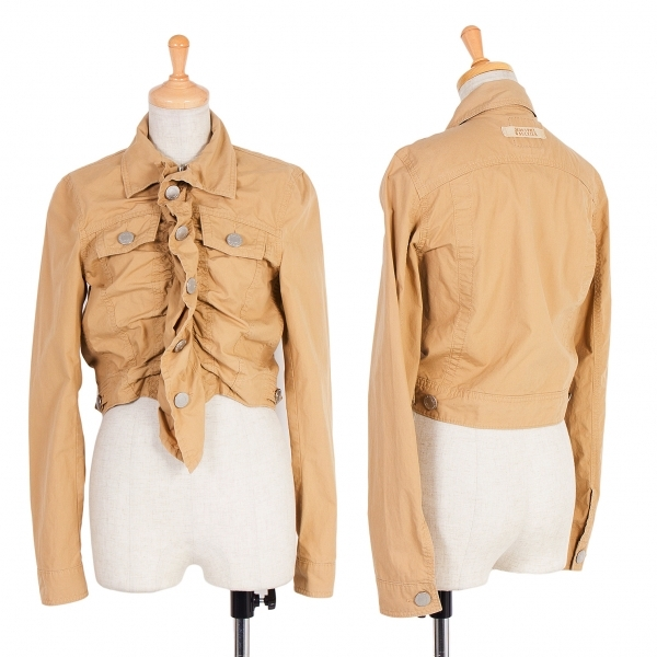 【SALE】ジーンズポールゴルチエJean's Paul GAULTIER ギャザーデザインジップジャケット 薄茶40【中古】 【レディース】