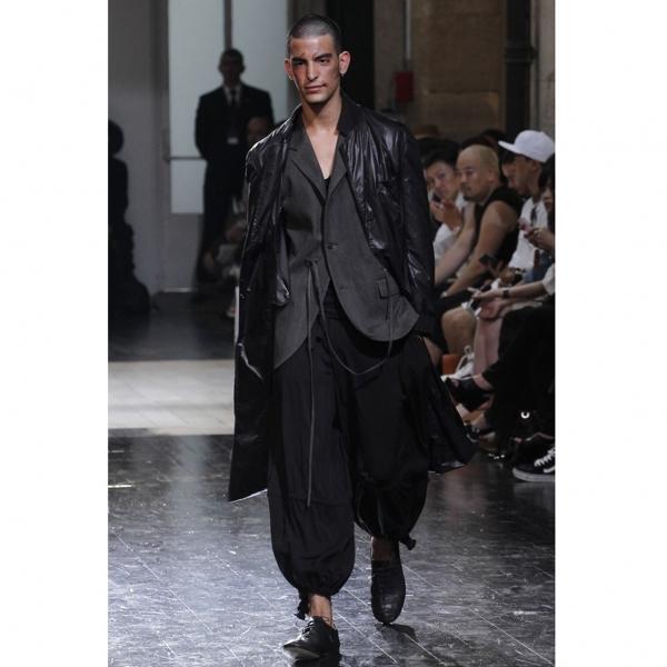 ヨウジヤマモト プールオムYohji Yamamoto POUR HOMME レーヨン裾絞りパンツ 黒2【中古】