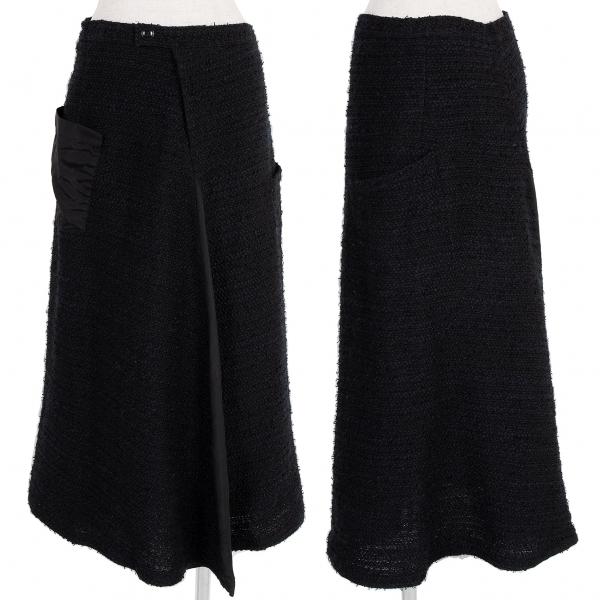ワイズY's ツィードキュプラ切り替えスカート 黒紺2【中古】