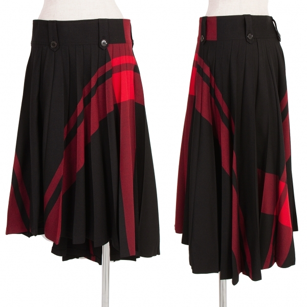 ワイズレッドレーベルY's red Label チェックプリーツスカート 黒赤2【中古】