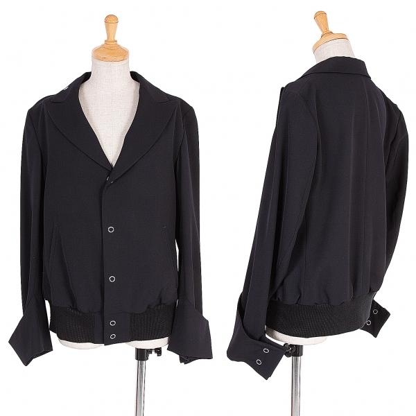 ワイズY's ウールギャバ裾リブボタンデザインジャケット 紺黒3【中古】