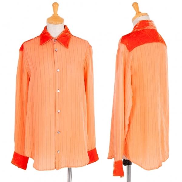 ワイズY's シルク襟袖パイルストライプブラウス オレンジ黒3【中古】