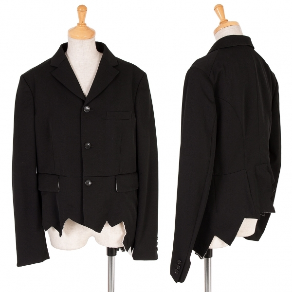 コムコム コムデギャルソンCOMME des GARCONS ウール裾断ち切りジャケット 黒生成りL【中古】 【レディース】