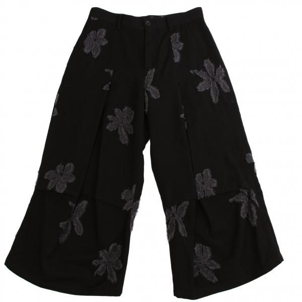 ワイズY's ウール花柄タックデザインパンツ 黒グレー2【中古】