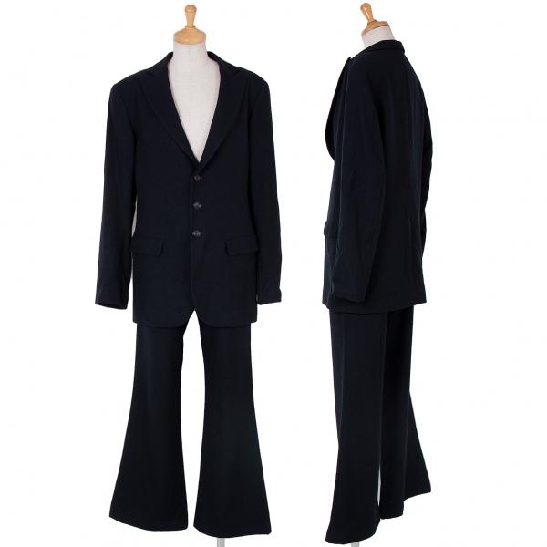 ワイズY's ウール起毛3Bピークドラペルセットアップスーツ 黒3・2【中古】