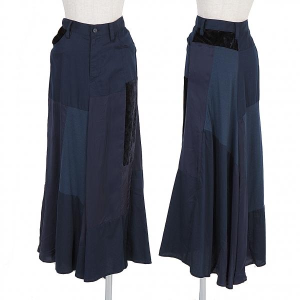 ワイズY's 異素材切り替えスカート 紺2【中古】 【レディース】