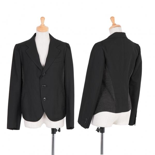 ワイズY's サイド切替デザインウールジャケット 黒グレー2【中古】