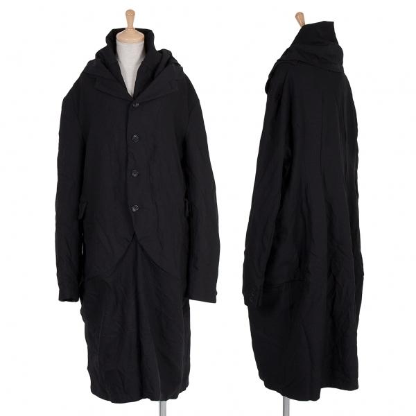 ブラック コムデギャルソンBLACK COMME des GARCONS ポリ製品染めジャケットレイヤードデザインロングコート 黒XL【中古】