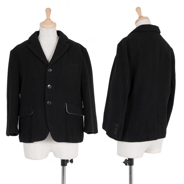 新品!ブラック コムデギャルソンBLACK COMME des GARCONS ウール製品洗いショートジャケット 黒生成りS 【レディース】