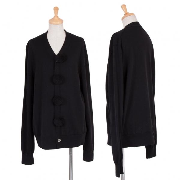 ブラック コムデギャルソンBLACK COMME des GARCONS ウールボンボン装飾カーディガン 黒M【中古】