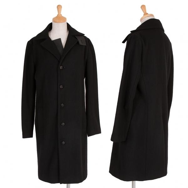 ワイズY's レザーパーツフラノウールコート 黒1【中古】