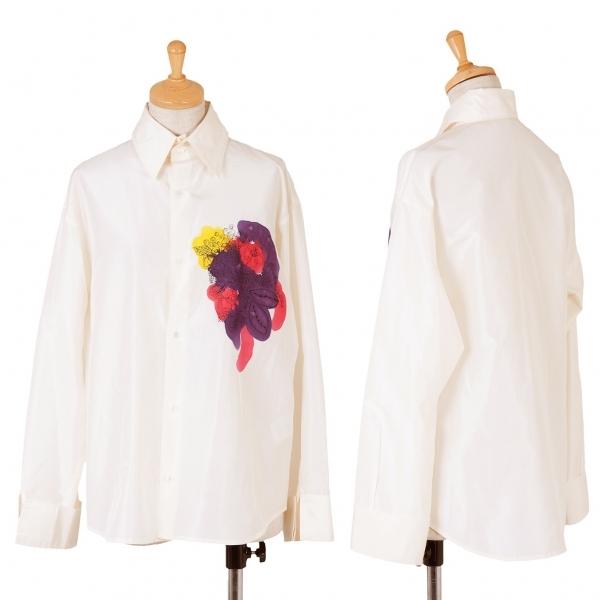 ワイズY's シルクフラワー刺繍プリントシャツ アイボリー3【中古】 【レディース】