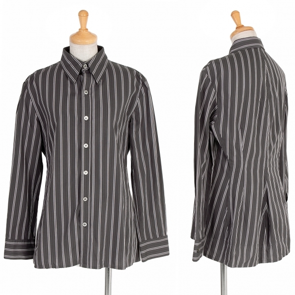 【SALE】ワイズY's ストライプ中綿切り替えシャツ チャコール紫白3【中古】 【レディース】