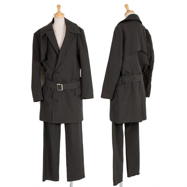 ワイズ レッドレーベルY's red Label ウールビッグカラーベルトジャケットセットアップスーツ チャコール3【中古】