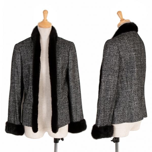ランバンLANVIN ミンクファートリミング混紡メランジウールジャケット マルチ黒40【中古】