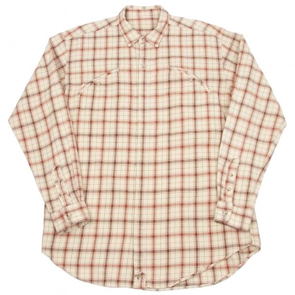パパスPapas アローポケットチェックシャツ ベージュエンジジM【中古】 【メンズ】