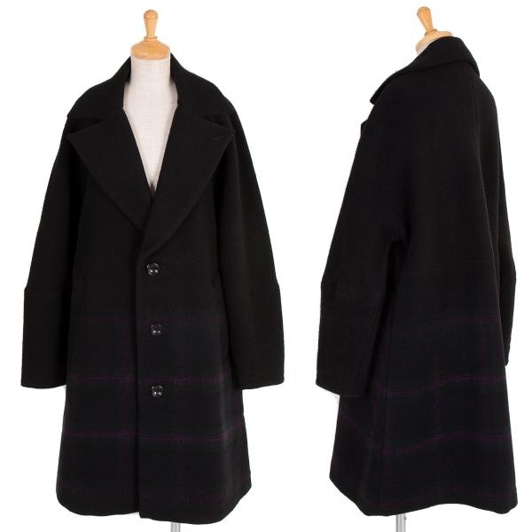 リミフゥLIMI feu 裾チェックウールコート 黒紫緑S【中古】