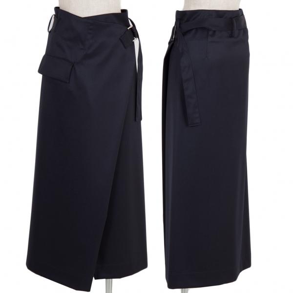 ワイズY's ウールギャバハーフラップスカート 紺3【中古】